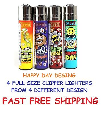4 Full Size CLIPPER Refillable Lighters HAPPY DAY COLLECTION Cigarette Lighter