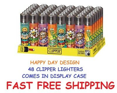 48 Full Size CLIPPER Refillable Lighters HAPPY DAY COLLECTION Cigarette Lighter