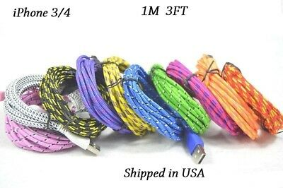 10x iPhone 3/4 1M 3FT USB Cable Data Sync Charging Charger Cord Cable iPad iPod