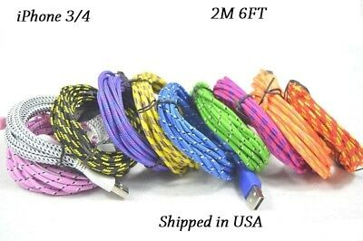 10x iPhone 3/4 2M 6FT USB Cable Data Sync Charging Charger Cord Cable iPad iPod