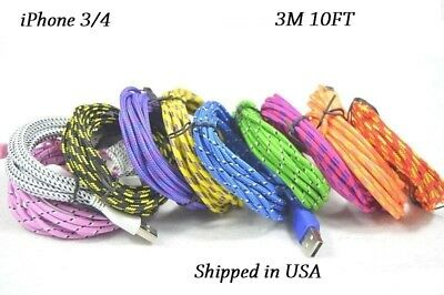 10x iPhone 3/4 3M 10FT USB Cable Data Sync Charging Charger Cord Cable iPad iPod