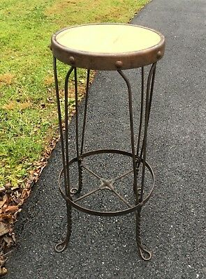 Vintage Antique Twisted Iron Metal Ice Cream Parlor Stool Chair