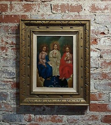 19th century Spanish Colonial Icon -The Holy Trinity -Oil painting