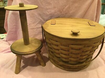 Longaberger 1986 Round Sewing Baskey and Stand 3200-NO(WS)