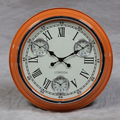 """Large 3 Dial Time Zone Wall Clock - Orange with White Face 50 cm (19.75"""")"""