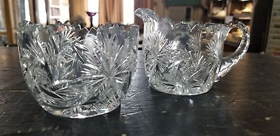 Vintage Cut Glass Creamer & Sugar