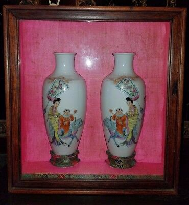 Very Beautiful And Old Pair Of Chinese Porcelain Vases