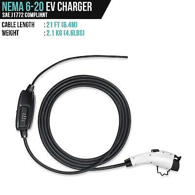 Electric Vehicle Charger EVSE 240v Level 2 Car Nema 6-20 Plug To J1772 Duosida