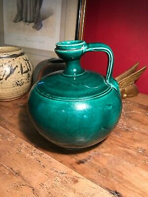 Antique Old French Green Glaze Pottery Oil Jug