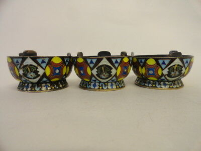 Set of 3 antique 84 silver cloisonne enameled salts in the Russian style