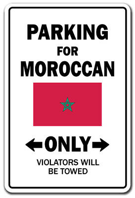 PARKING FOR MOROCCAN ONLY Decal morocco flag national pride love 12""