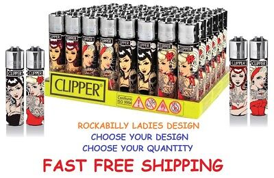 BIG Size New CLIPPER Refillable Full Lighters ROCKABILLY PIN UP LADIES Lighter