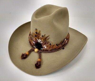 Stetson The Billy Kidd Western Cowboy Hat Size 7 Brown Felt Feathers Cord  Band efb523559cff