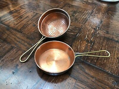 Vintage Copper Hand Strainer and Pan with Brass Handles - Set of 2