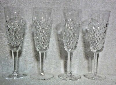 Lot of 4 Waterford Crystal Alana Fluted Champagne