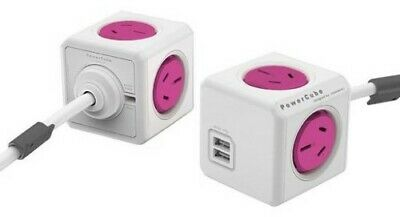 Powercube Extended Cube 4 Outlets 2x USB With 1.5M Cord & Docking Mount Pink