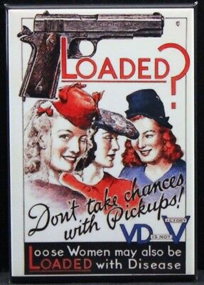 Loose Women VD Vintage Wartime Poster Fridge / Locker Magnet. USMC