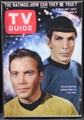 "TV Guide Cover (Kirk & Spock) 2"" X 3"" Fridge / Locker Magnet. Star Trek TOS"