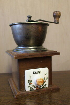 Vintage Manual French Solid Wood Ceramic- Brass Coffee/Pepper Grinder machine
