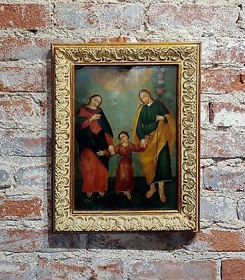 19th century Spanish colonial Icon -Holy Family -oil painting