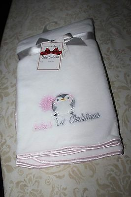 Blankets & Beyond Baby's First Christmas soft white/gray/ pink  penguin NEW
