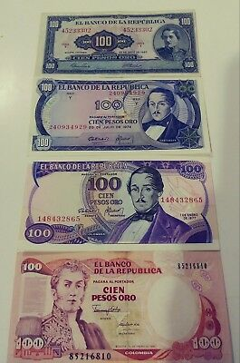 "Colombia set Of 4 Banknotes Of 100 Pesos Oro Year 1967,1974,1977 7 1990 ""3"" Unc."