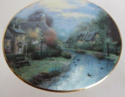 "Thomas Kinkade's Lamp Light Brook Village 1999 Ceramic  Music Box ""The Long and"