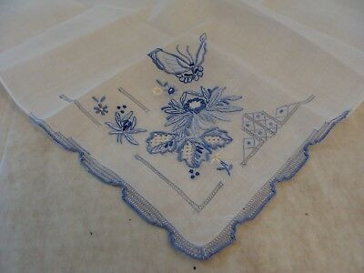 Vtg Butterfly Floral Hankie Bridal White Blue Wedding Embroidered Thread Work