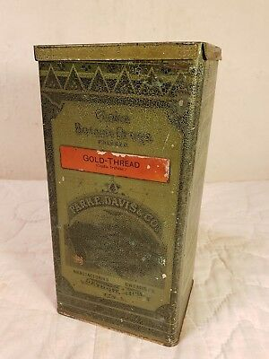 "Antique Parke Davis Choice Botanic Drugs ""Gold Thread"" Apothecary Tin - COOL!"