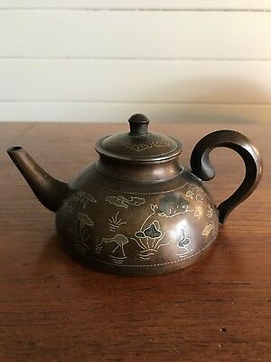 Vintage Chinese Cast Metal Teapot Inlaid Figures