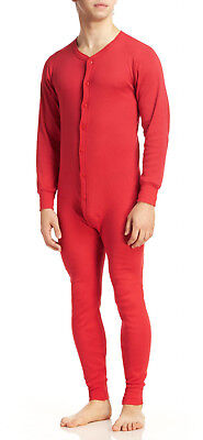 Indera Mills Men's Classic Rib Knit Red 100% Cotton Thermal Long Johns Unionsuit