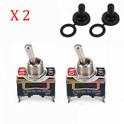 Toggle Switch Heavy-Duty 20A 125V SPST 2-Terminal ON/OFF Car Waterproof Boot ATV
