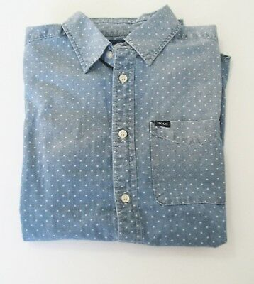 2a9788ee96ff8f Ralph Lauren Boys Short Sleeve Chambray Shirt Blue Star Multi Sz XL (18-20