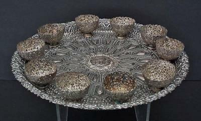 Antique Islamic Turkish Ottoman coffee set Silvered Copper Tray and 10 Zarfs