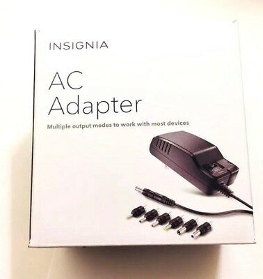 Insignia AC Adapter 3V-12V DC at Up to 600(mAh) w/7 Multiple Output Modes in BK