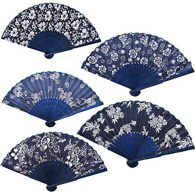 Spanish Style Blue Dance Wedding Party Lace Silk Folding Hand Held Flower Fan C