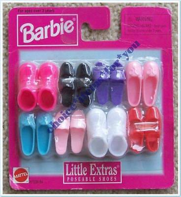 BARBIE SHOES LITTLE EXTRAS #67036-84 : 8 PAIRS : 1998 : NEW in PACKET