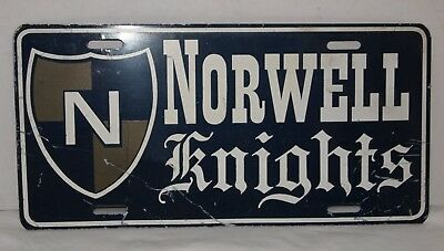Vintage Norwell Knights Metal License Plate, Ossian, Indiana ?, High School
