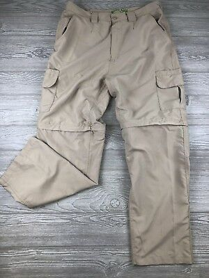 Rustic Ridge Mens Cargo Shorts Size L Large Hybrid Belted Olive Green Hiking Activewear