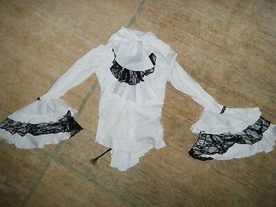 Victorian White Black Bow Blouse sz XS Teen  Bell Cuffs  Gothic Holidays Pirate
