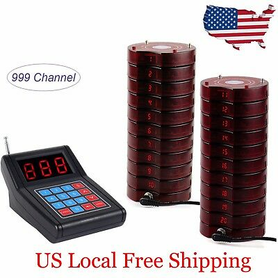 Restaurant Wireless Paging Queuing Calling System Transmitter+20Guest Call Pager