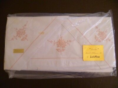 Vintage Cotton DB? Sheet Set White with Pink Embroidery 2 Sheets + Cases UNUSED