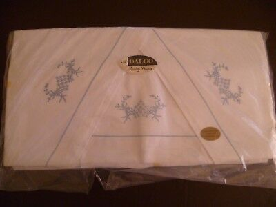 Vintage Cotton DB? Sheet Set White with Blue Embroidery 2 Sheets + Cases UNUSED