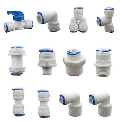 5PCS Push Fit Pipe Elbow Tube Tee Y-shape Valve Connector For Water Aquarium