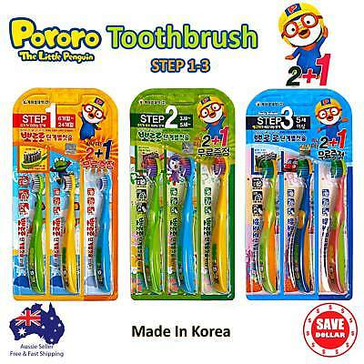 3pc Pororo Little Penguin Children Kids Toothbrush From 6 Months Korean Made