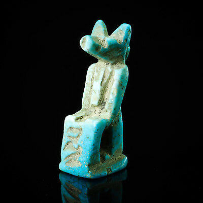 AUTH ANCIENT Egypt Faience Egyptian GOD Anubis Figurine Amulet Pendant