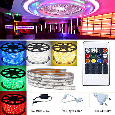 1M-20M 5050 RGB Waterproof LED Light Strip + Remote Control + Power AC 220V-240V