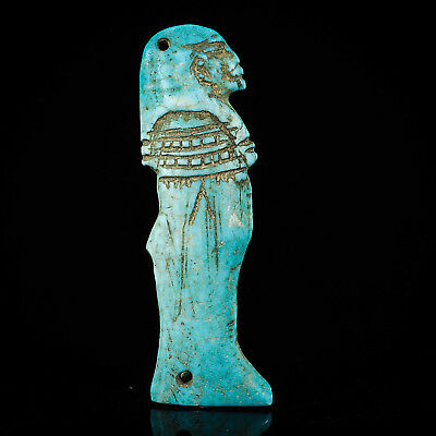 Authentic ANCIENT Faience Egyptian Pharaoh  Ushabti (Shabti) Amulet Pendant