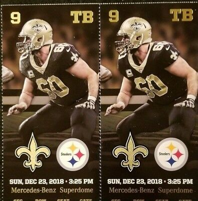 (2)tickets New Orleans Saints vs Pittsburgh Steelers Row 3 UpperBox seats Dec 23