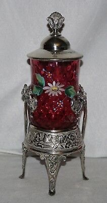 Cranberry/Ruby Red Enamel Decorated Pickle Castor, Meriden Silverplate